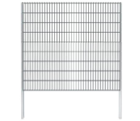 vidaXL Gabionenzaun Stahl Verzinkt 2,008x1,83 m Gesamtlänge 6 m Grau