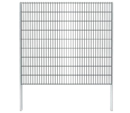 vidaXL Gabionenzaun Stahl Verzinkt 2,008x1,83 m Gesamtlänge 20 m Grau