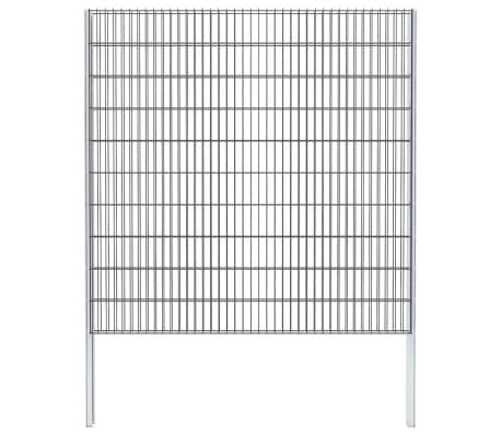 vidaXL Doppelstabmattenzaun Gabionenzaun Verzinkt 2008x2030mm 4 m Grau