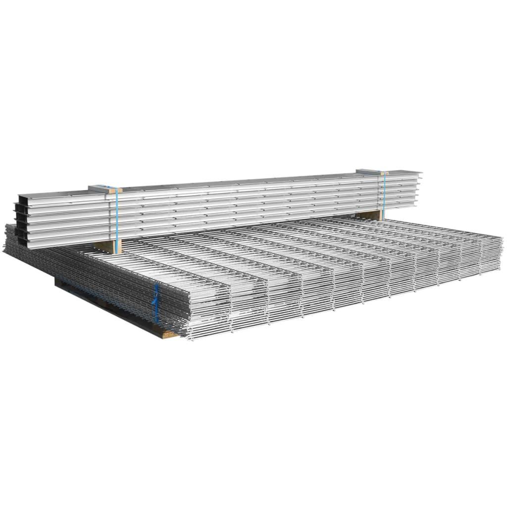 vidaXL Schanskorf dubbelstaafmat 2,008x2,03 m 4m (lengte) staal zilver