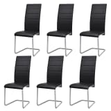 vidaXL Cantilever Dining Chairs 6 pcs Artificial Leather Black
