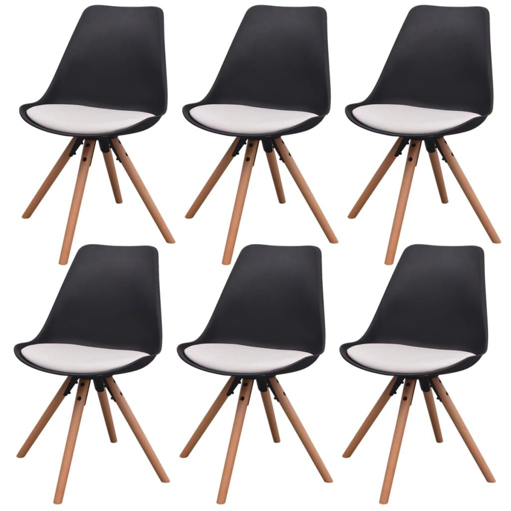 vidaXL Καρέκλες Τραπεζαρίας 6 τεμ. Ασπρόμαυρες από Συνθετικό Δέρμα