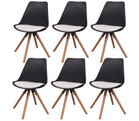 vidaXL Blagovaonske stolice od umjetne kože 6 kom crno bijele