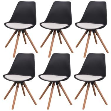 vidaXL Blagovaonske stolice od umjetne kože 6 kom crno-bijele[1/6]