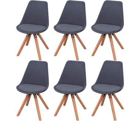 vidaXL Blagovaonske stolice od tkanine 6 kom tamnosive