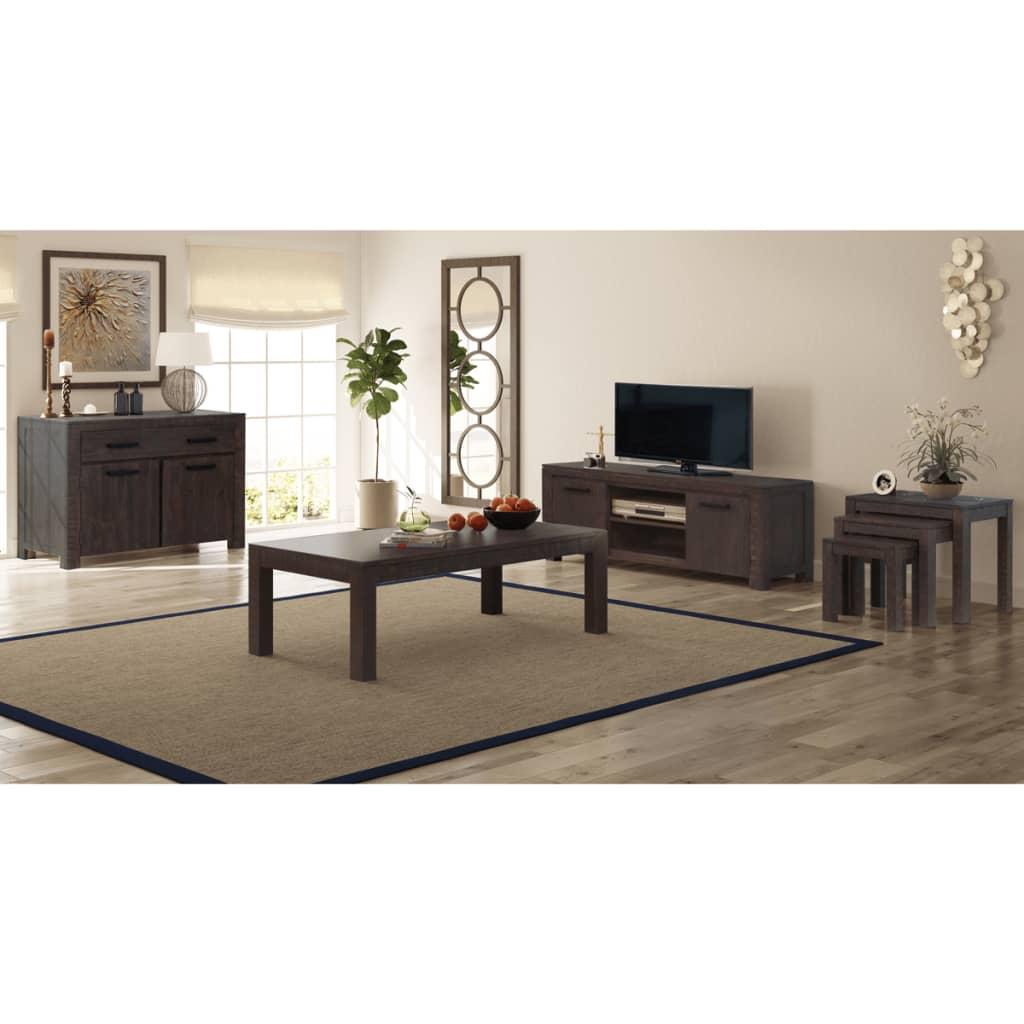 vidaXL 6ks set nábytku do obýváku, masivní akácie, kouřový vzhled