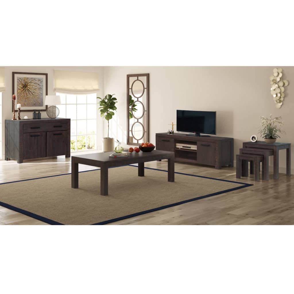 vidaXL Set mobilier de sufragerie, 6 piese, lemn masiv acacia, fumuriu poza 2021 vidaXL