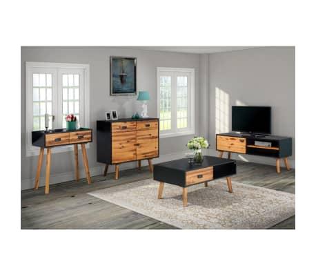 Vidaxl conjunto muebles de sal n 4 piezas acacia maciza - Conjunto muebles salon ...