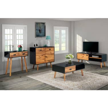 vidaXL Living Room Furniture Set 4 Pieces Solid Acacia Wood ...