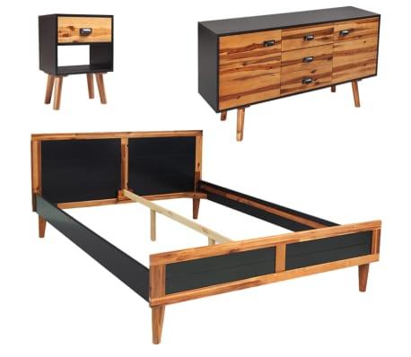 vidaXL Miegamojo baldų komplektas, 4d., akacijos mediena, 140x200cm