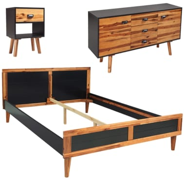 Vidaxl Four Piece Bedroom Furniture Set Solid Acacia Wood 140x200 Cm
