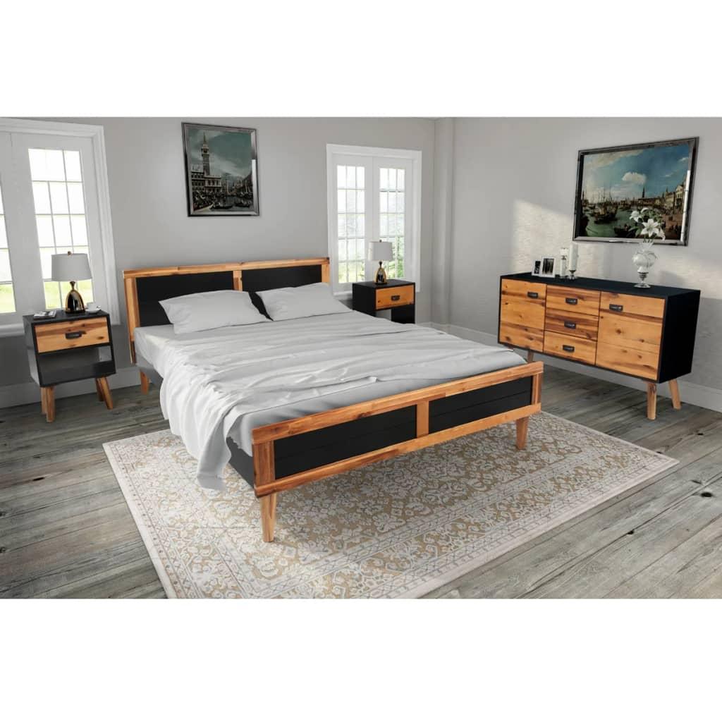 vidaXL 4ks set nábytku do ložnice, masivní akáciové dřevo, 140x200 cm