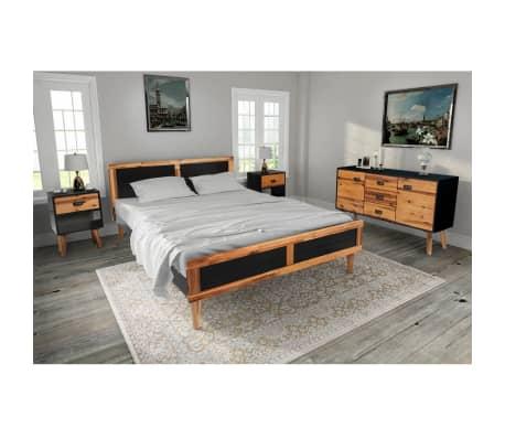 vidaXL Miegamojo baldų komplektas, 4d., akacijos mediena, 140x200cm[1/17]
