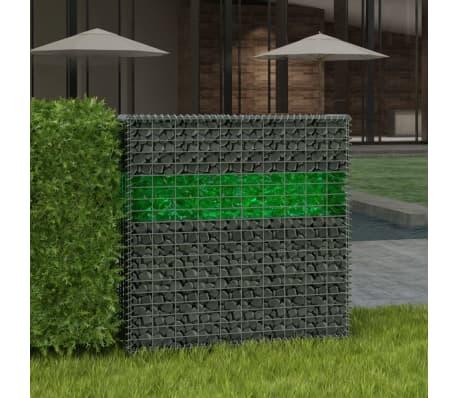 vidaXL Градински комплект габион кошница, стъклени камъни и LED лампа[2/25]