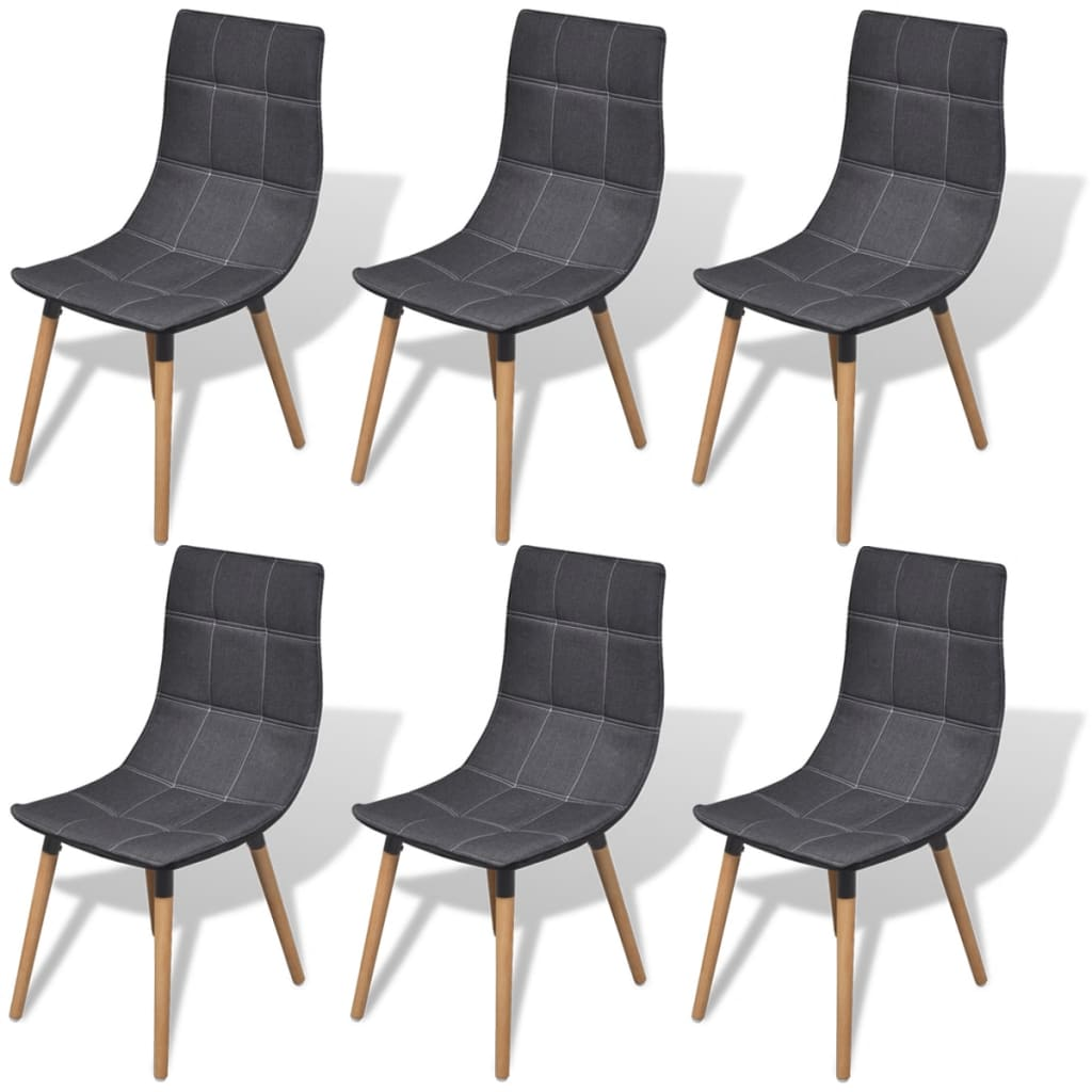 vidaXL Καρέκλες Τραπεζαρίας 6 τεμ. Σκούρο Γκρι