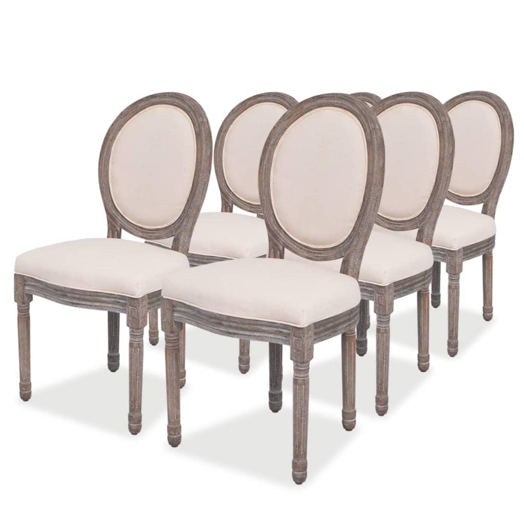 vidaXL Καρέκλες Τραπεζαρίας 6 τεμ. από Λινό Ύφασμα