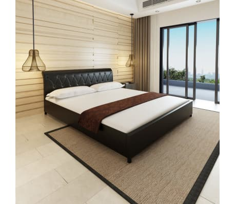 vidaxl doppelbett mit matratze kunstleder schwarz 180x200 cm g nstig kaufen. Black Bedroom Furniture Sets. Home Design Ideas