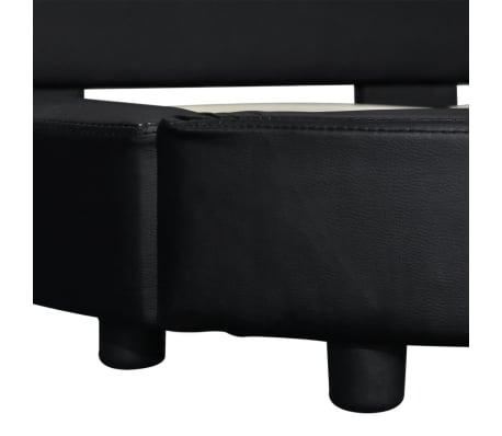 vidaxl bett mit matratze 180x200 cm rund kunstleder schwarz zum schn ppchenpreis. Black Bedroom Furniture Sets. Home Design Ideas