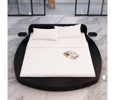 vidaxl bett mit matratze 180x200 cm rund kunstleder schwarz g nstig kaufen. Black Bedroom Furniture Sets. Home Design Ideas