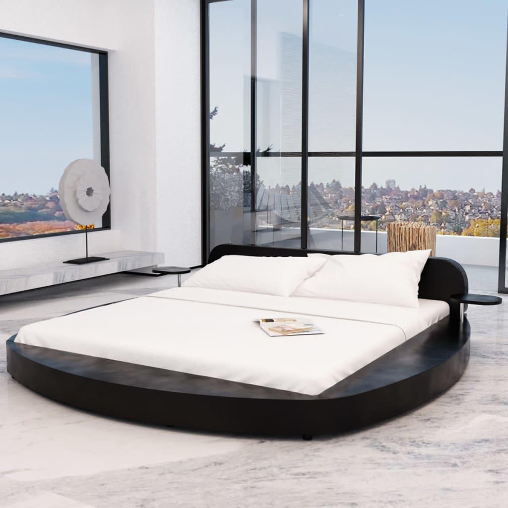 vidaXL Postel s matrací, umělá kůže, 180x200 cm, kulatá, černá