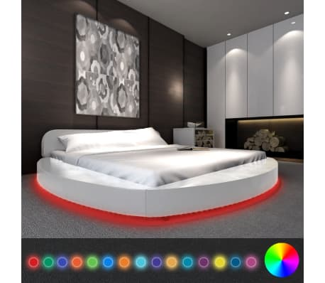 acheter vidaxl lit avec matelas led 180 x 200 cm rond cuir artificiel blanc pas cher. Black Bedroom Furniture Sets. Home Design Ideas