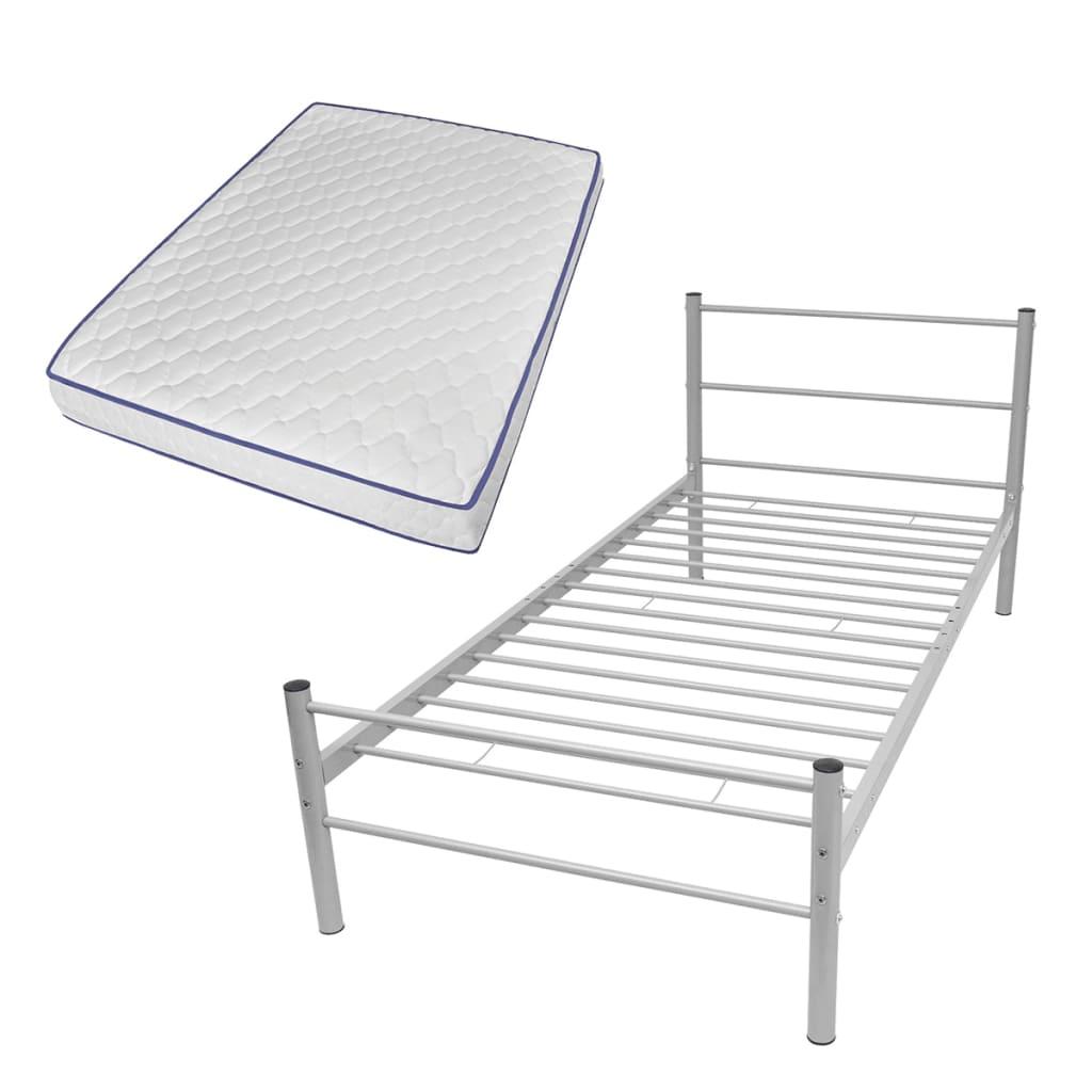 vidaXL Κρεβάτι Γκρι 90 x 200 εκ. Μεταλλικό με Στρώμα Αφρού Μνήμης