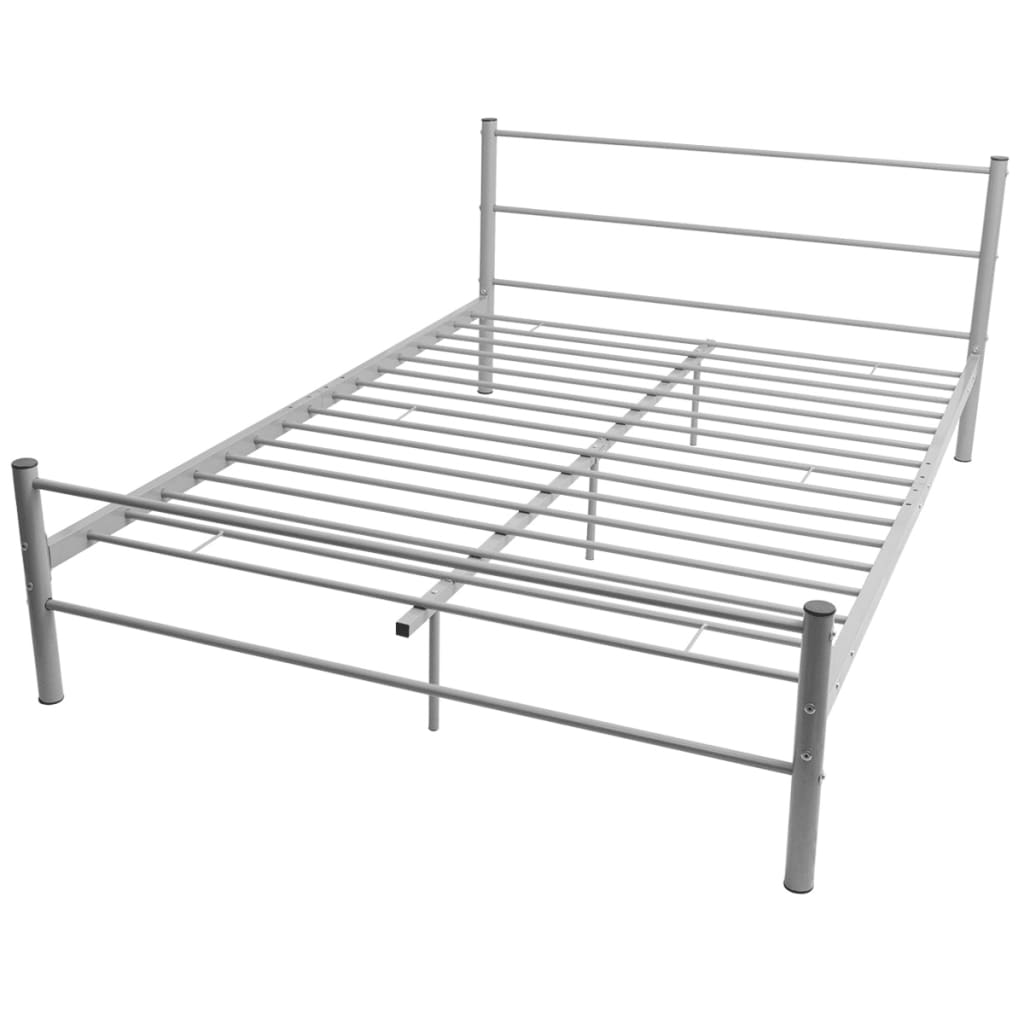 vidaXL Tweepersoonsbed met traagschuim matras metaal 140x200 cm grijs