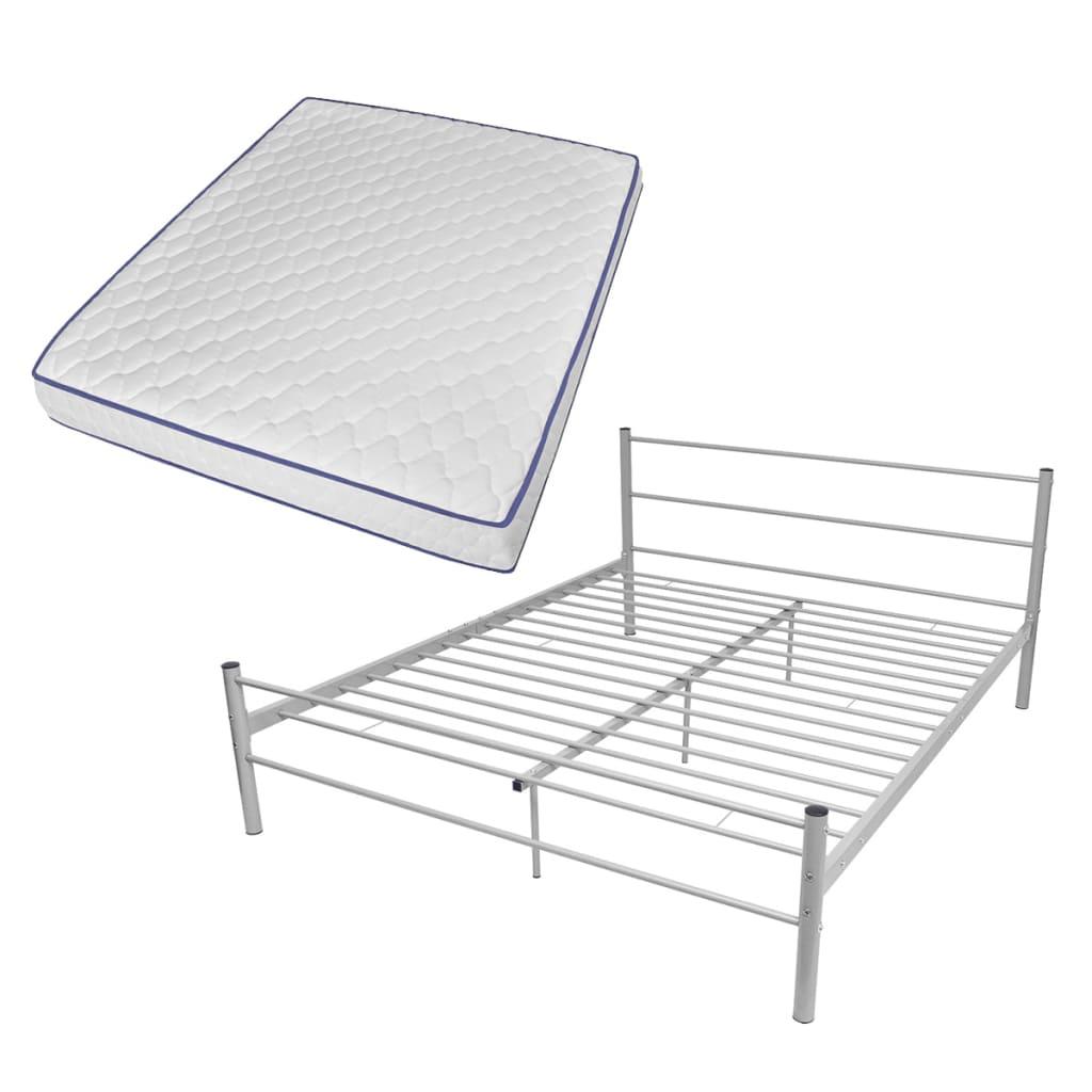vidaXL Κρεβάτι Γκρι 160 x 200 εκ. Μεταλλικό με Στρώμα Αφρού Μνήμης