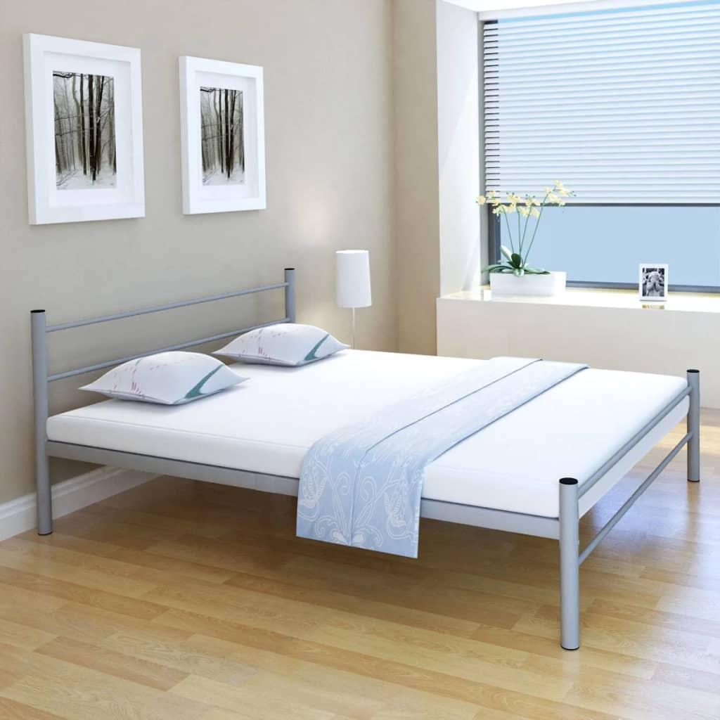 vidaXL Κρεβάτι Διπλό Γκρι 160×200 εκ. Μεταλλικό + Στρώμα Αφρού Μνήμης