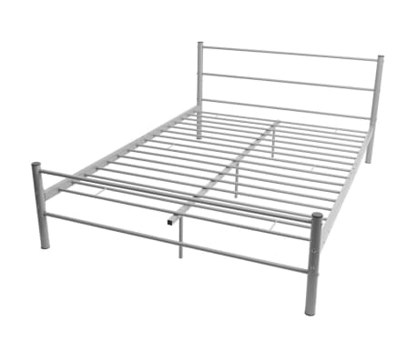 vidaxl doppelbett mit matratze metall grau 140x200 cm g nstig kaufen. Black Bedroom Furniture Sets. Home Design Ideas