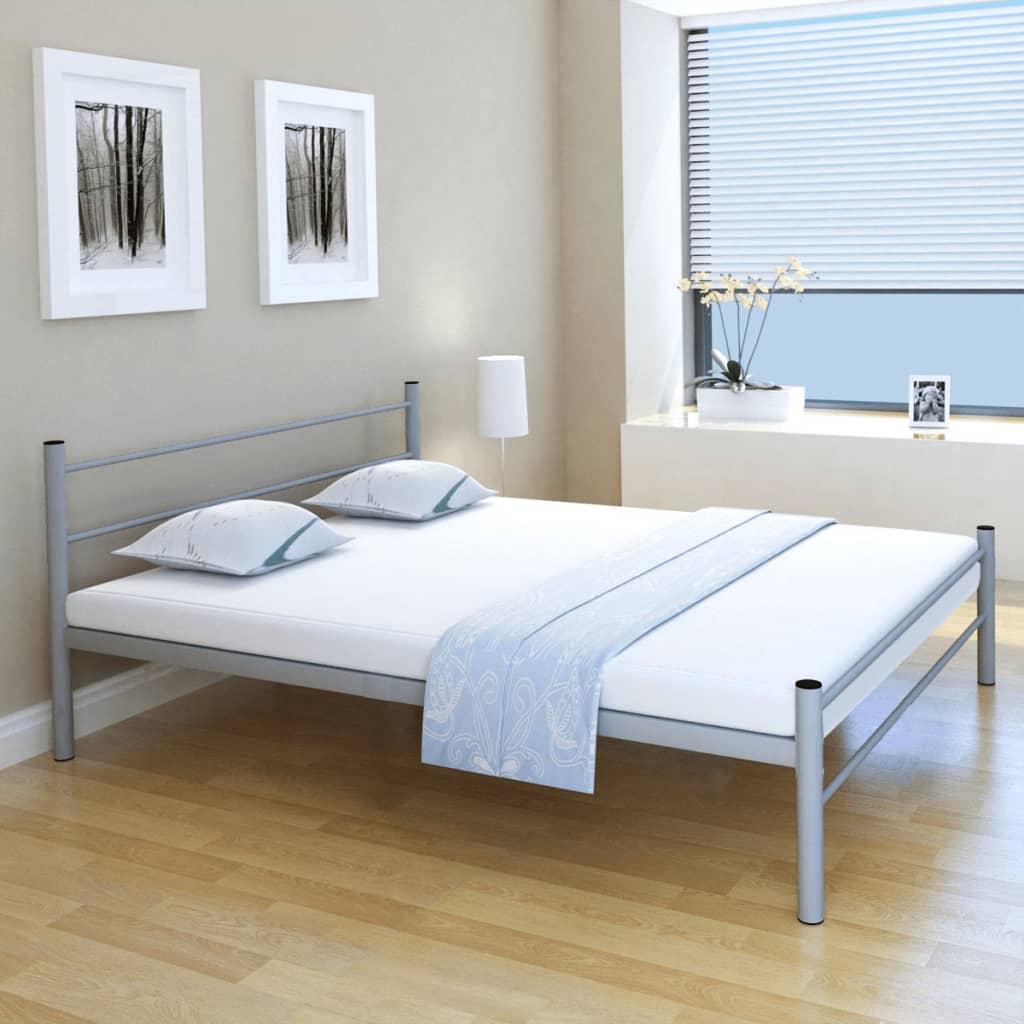 vidaXL Κρεβάτι Διπλό Γκρι 160 x 200 εκ. Μεταλλικό με Στρώμα