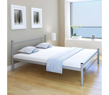 vidaxl doppelbett mit matratze metall grau 160x200 cm g nstig kaufen. Black Bedroom Furniture Sets. Home Design Ideas