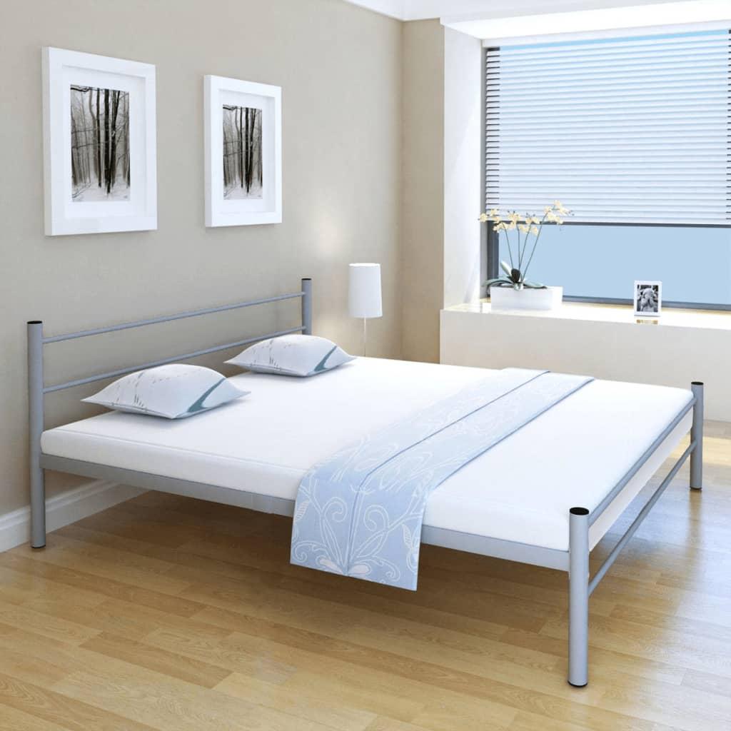 vidaXL Κρεβάτι Διπλό Γκρι 180 x 200 εκ. Μεταλλικό με Στρώμα