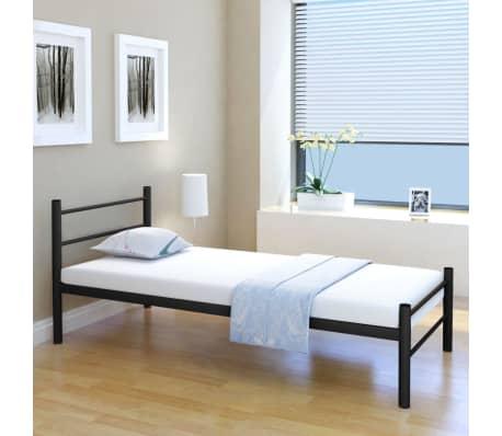 Vidaxl letto singolo con materasso metallo nero 90x200 cm for Letto singolo con materasso