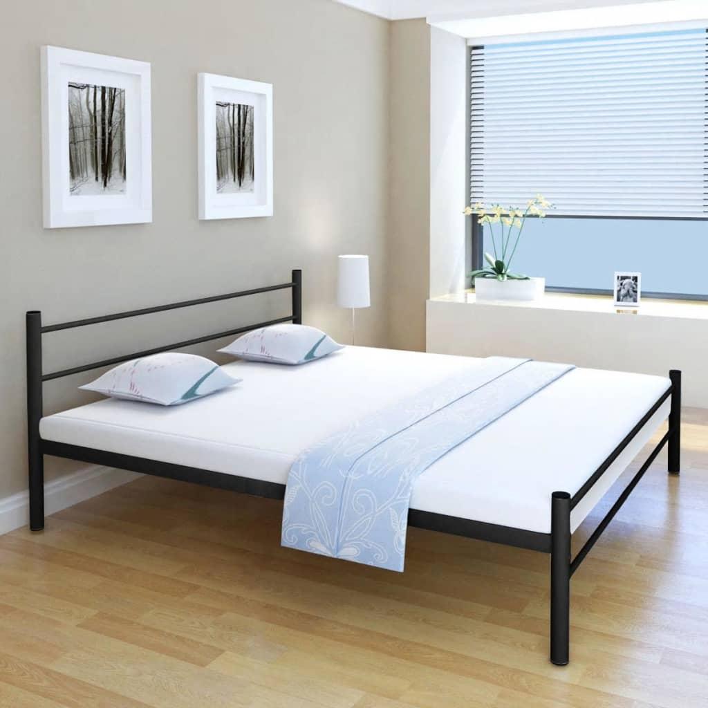 vidaXL Manželská postel s matrací 180x200 cm, kov, černá