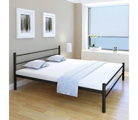 acheter vidaxl lit double avec matelas m tal noir 180 x 200cm pas cher. Black Bedroom Furniture Sets. Home Design Ideas
