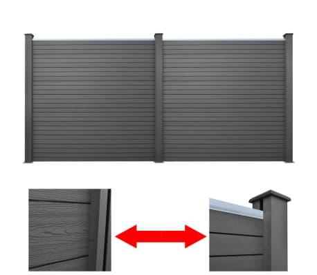 vidaXL Панел за градинска ограда, 2 бр, WPC, сив, 361 см[1/9]