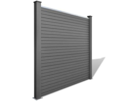 vidaXL Панел за градинска ограда, 2 бр, WPC, сив, 361 см[2/9]