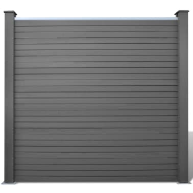 vidaXL Панел за градинска ограда, 2 бр, WPC, сив, 361 см[3/9]