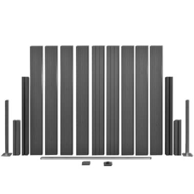vidaXL Панел за градинска ограда, 2 бр, WPC, сив, 361 см[4/9]