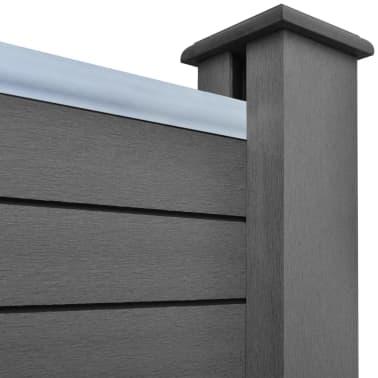 vidaXL Панел за градинска ограда, 2 бр, WPC, сив, 361 см[5/9]