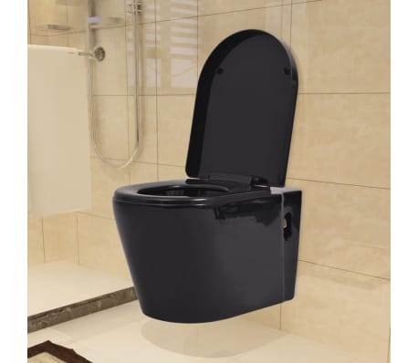 vidaxl h nge toilette mit einbau sp lkasten keramik schwarz g nstig kaufen. Black Bedroom Furniture Sets. Home Design Ideas