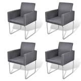 vidaXL Dining Chairs 4 pcs Fabric Dark Gray
