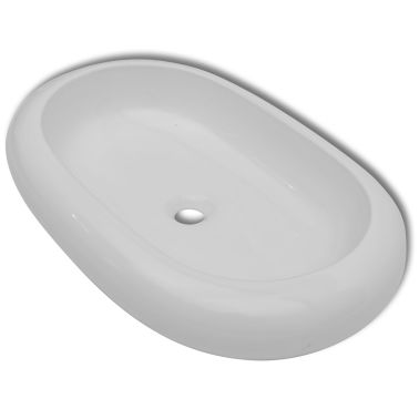 "vidaXL Luxury Ceramic Basin Oval-shaped White 24.8""x16.5""[2/6]"