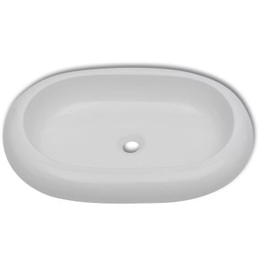 "vidaXL Luxury Ceramic Basin Oval-shaped White 24.8""x16.5""[4/6]"