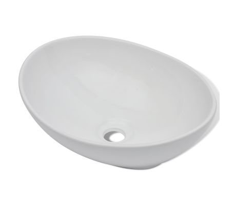 "vidaXL Luxury Ceramic Basin Oval-shaped White 16.1""x13.4""[2/6]"