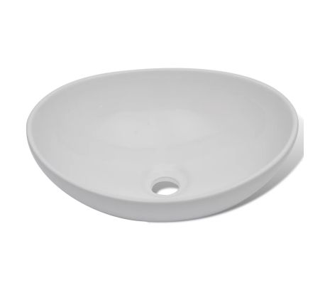 "vidaXL Luxury Ceramic Basin Oval-shaped White 16.1""x13.4""[4/6]"