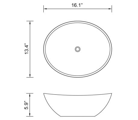 "vidaXL Luxury Ceramic Basin Oval-shaped White 16.1""x13.4""[6/6]"