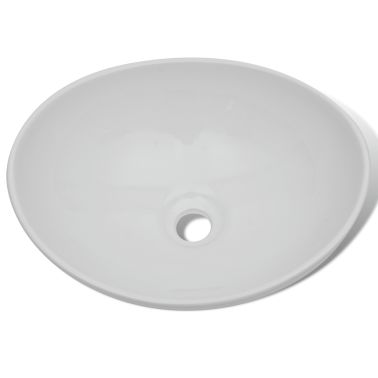 "vidaXL Luxury Ceramic Basin Oval-shaped White 16.1""x13.4""[3/6]"
