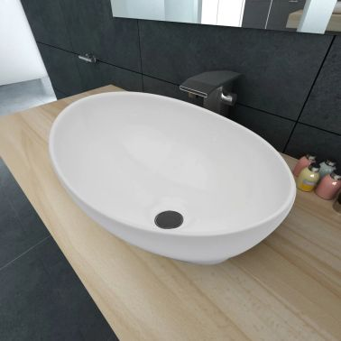 "vidaXL Luxury Ceramic Basin Oval-shaped White 16.1""x13.4""[1/6]"